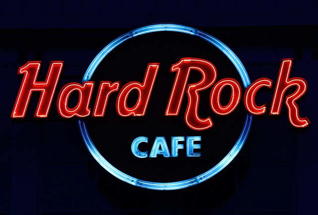 Hard rock cafe neon advertising.