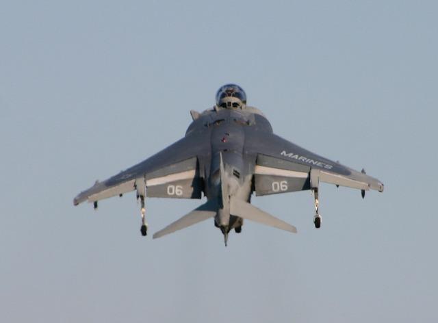 Harrier plane rear.
