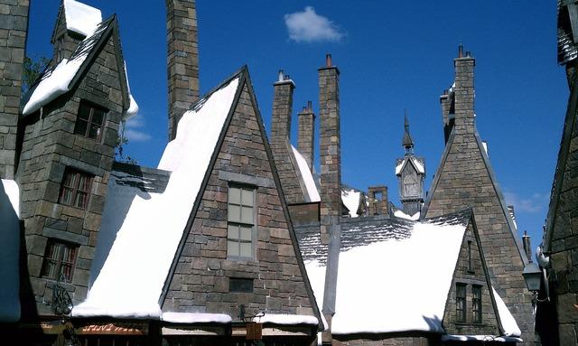 Harry potter buildings snow, architecture buildings.