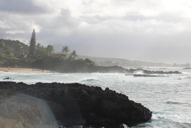 Hawaii beach rock, travel vacation.