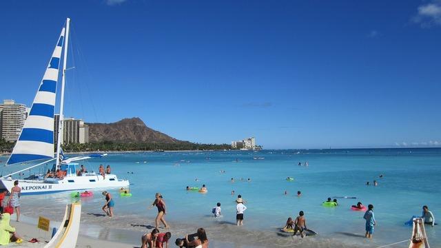 Hawaii beach sun, travel vacation.