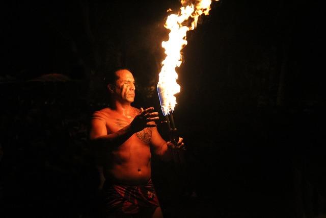 Hawaii fire dance flame hawaii, sports.
