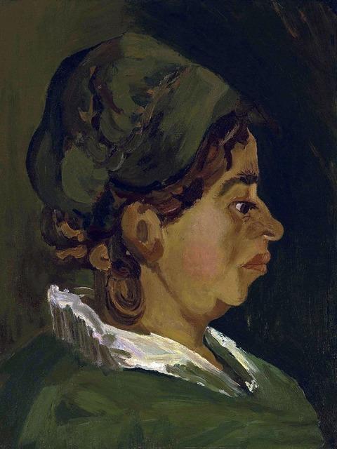 Head of a peasant woman right profile van gogh.