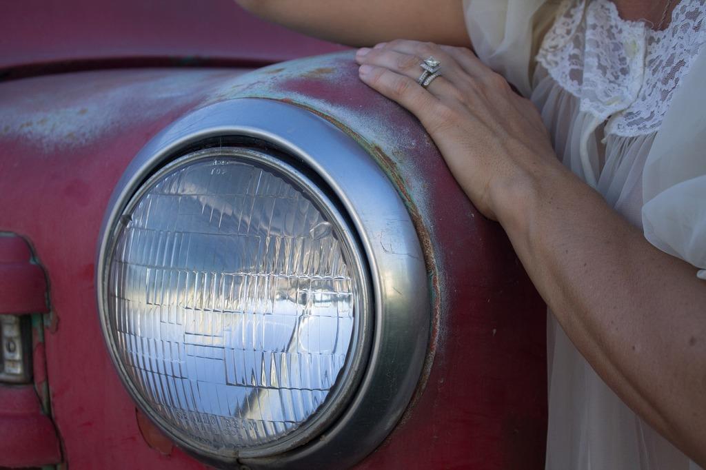 Headlight vintage red, transportation traffic.