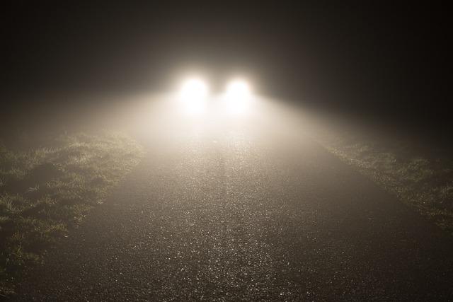 Headlights fog night, transportation traffic.
