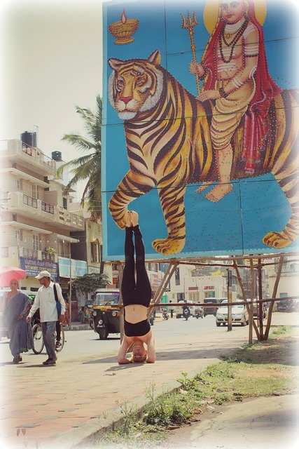 Headstand sirsasana yoga, beauty fashion.