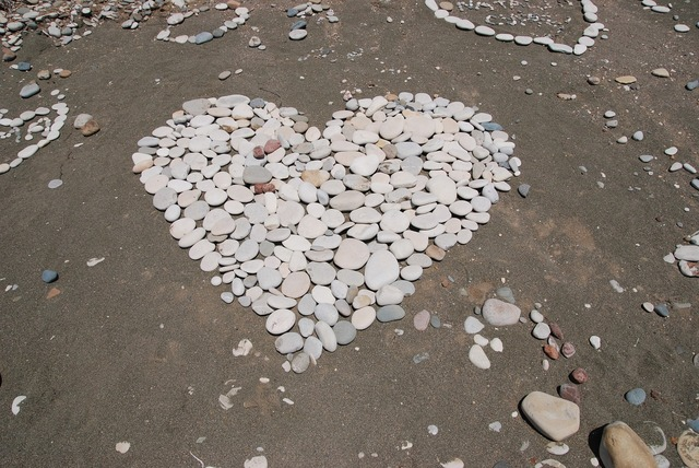 Heart beach love, travel vacation.