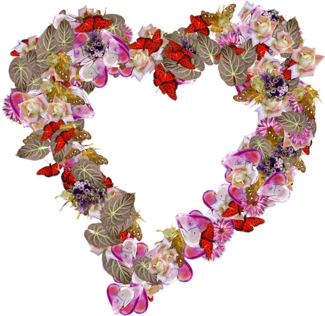 Heart flowers png, emotions.