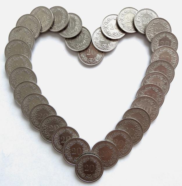 Heart money coins, business finance.