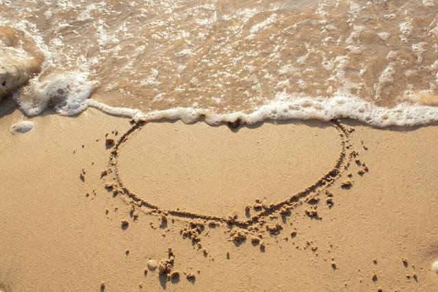 Heart sand sea, travel vacation.