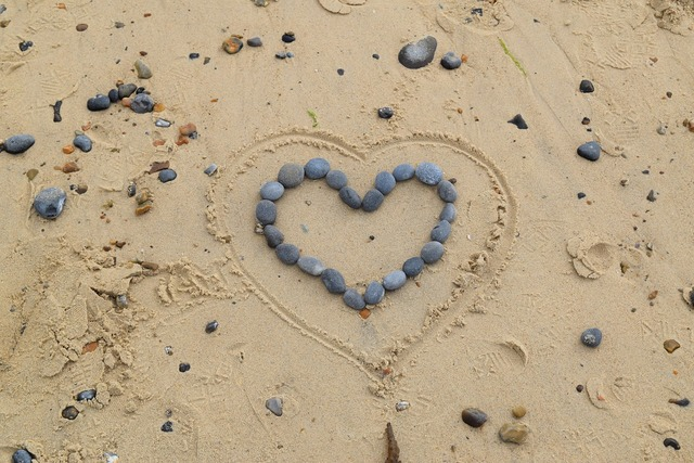 Heart stones sand, emotions.