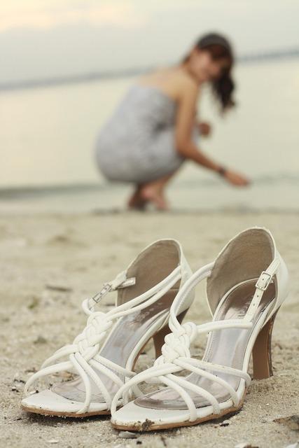 Heels beach woman, travel vacation.