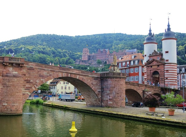 Heidelberg bridge neckar, architecture buildings.