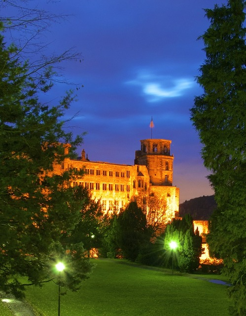 Heidelberg castle lighting, architecture buildings.