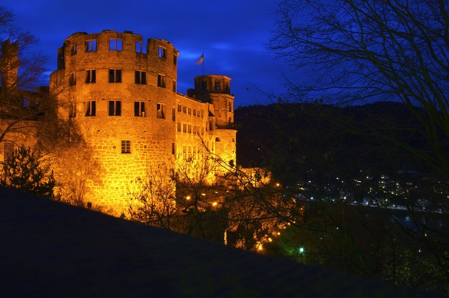 Heidelberg castle night, architecture buildings.