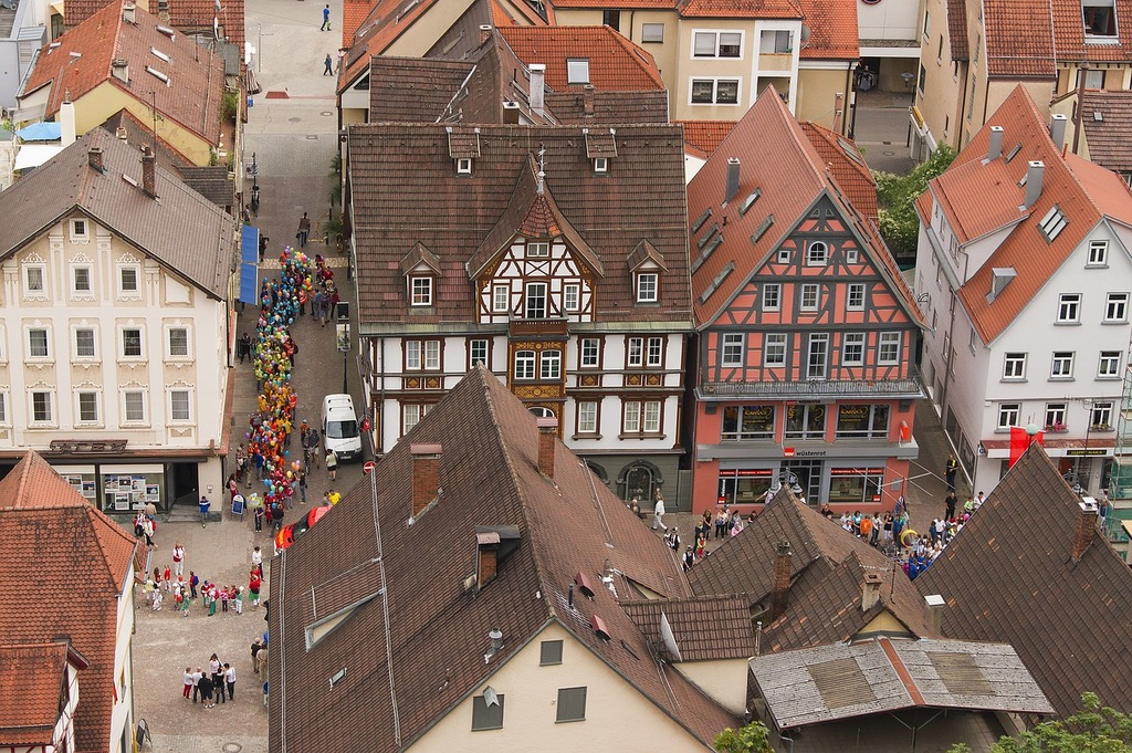 Heidenheim germany city aerial view, architecture buildings.