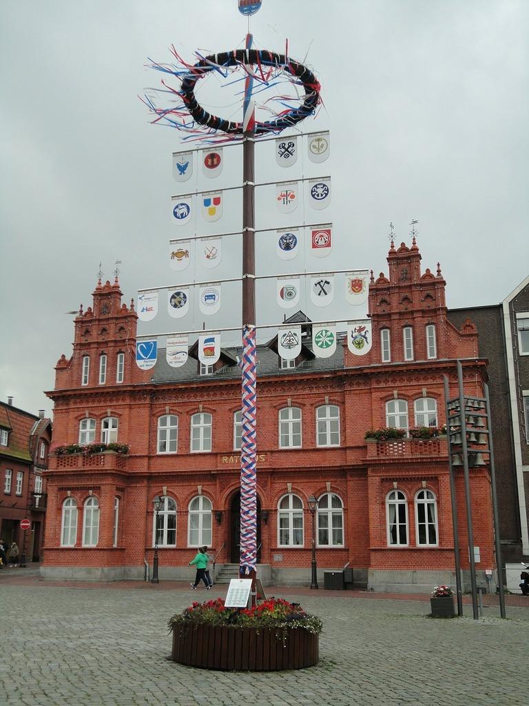 Heiligenhafen north sea maypole, architecture buildings.
