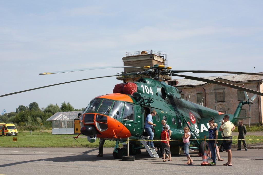 Helicopter chopper landed, transportation traffic.