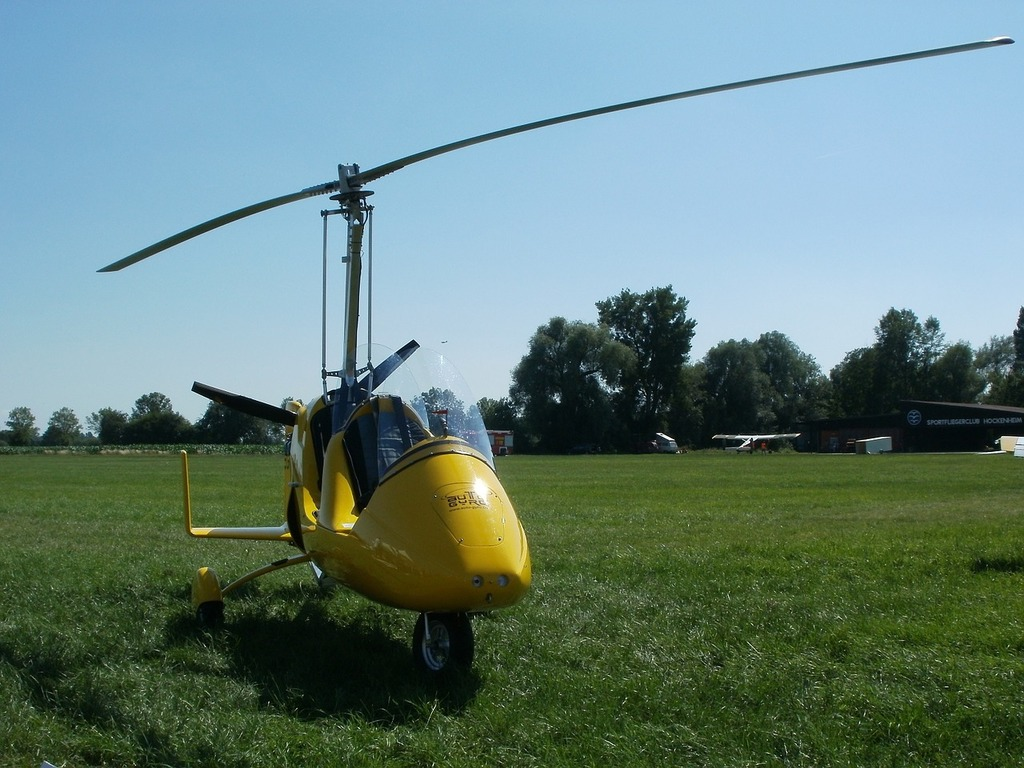 Helicopter gyrocopter aviation, transportation traffic.