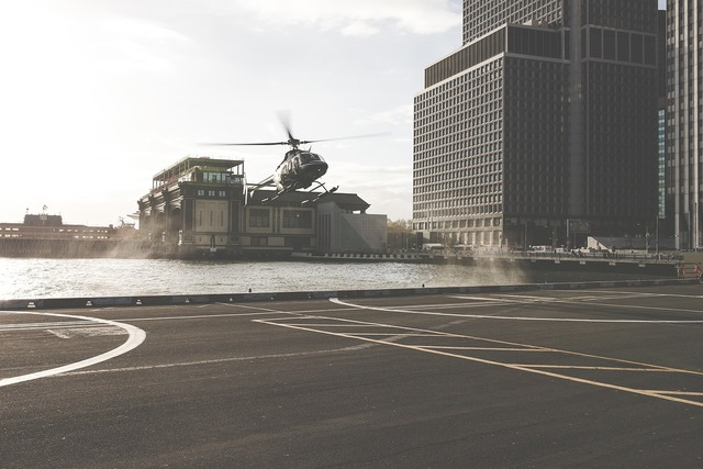 Helicopter helipad pavement, transportation traffic.