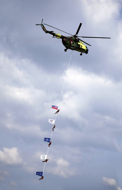 Helicopter rope flags.