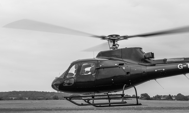 Helicopter take off rotor blades, transportation traffic.