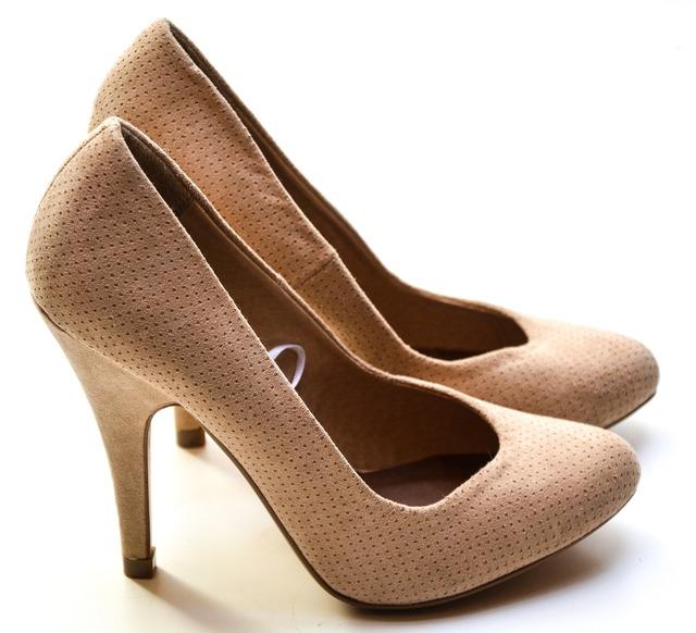 High heels shoes nude, beauty fashion.