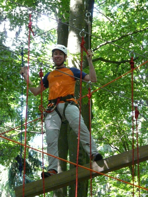 High ropes course man human, people.