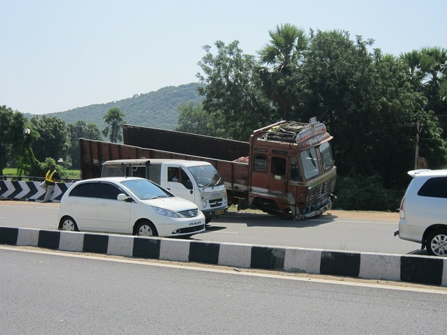 Highway accident truck, transportation traffic.
