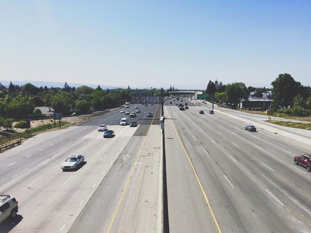 Highway cars driving, transportation traffic.