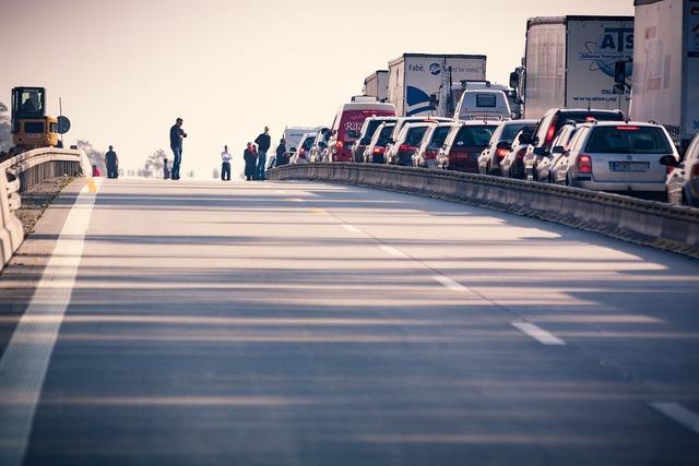 Highway jam traffic, transportation traffic.