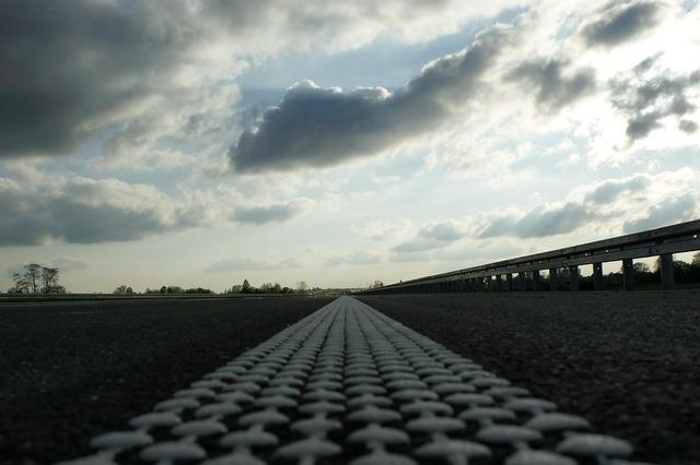 Highway lines borders road, transportation traffic.