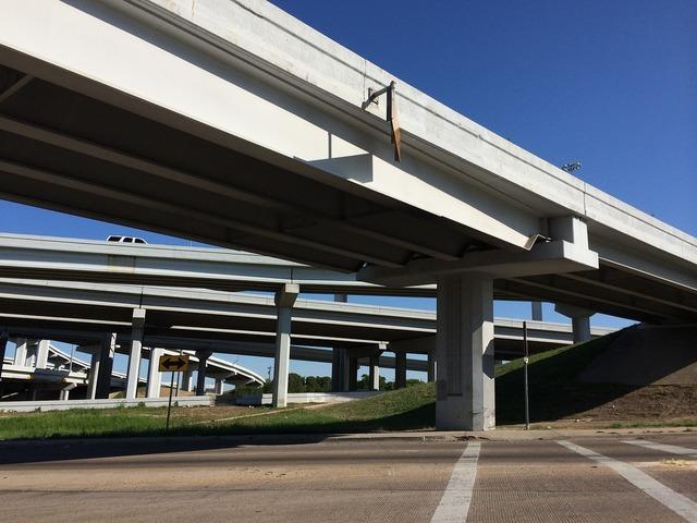 Highway underpass road, transportation traffic.