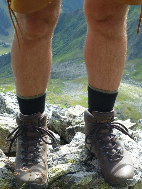 Hiking shoes mountaineering shoes feet.