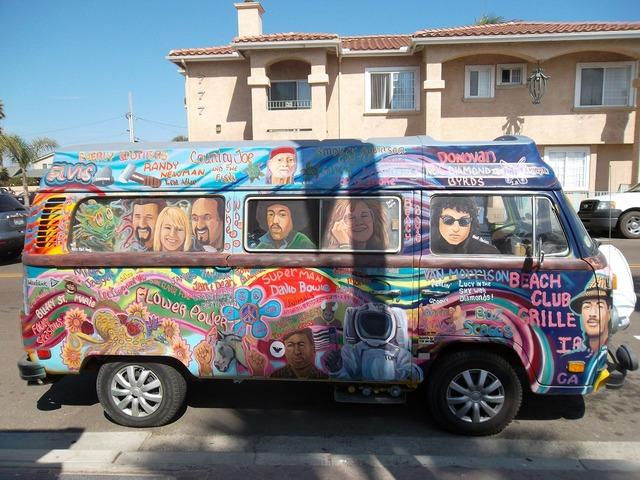 Hippies bus van, transportation traffic.