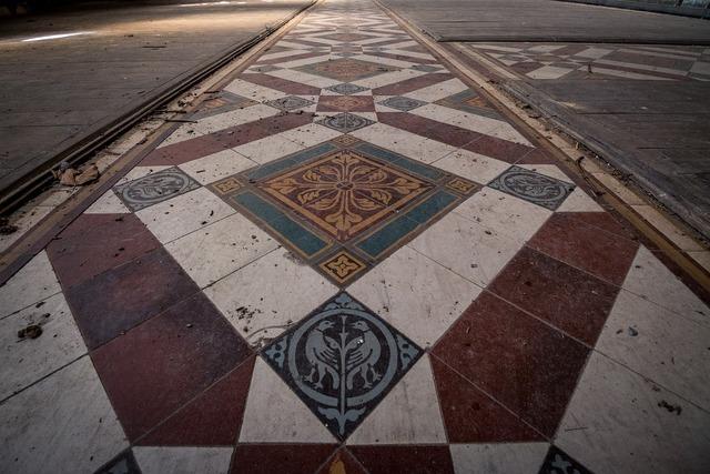 Historic tile flooring pattern architecture, backgrounds textures.