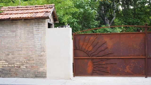 Hof driveway door, animals.