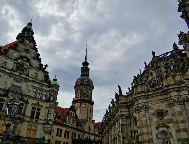 Hofkirche dresden historic old town, architecture buildings.