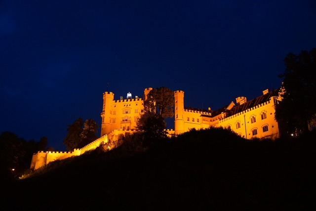 Hohenschwangau castle night.