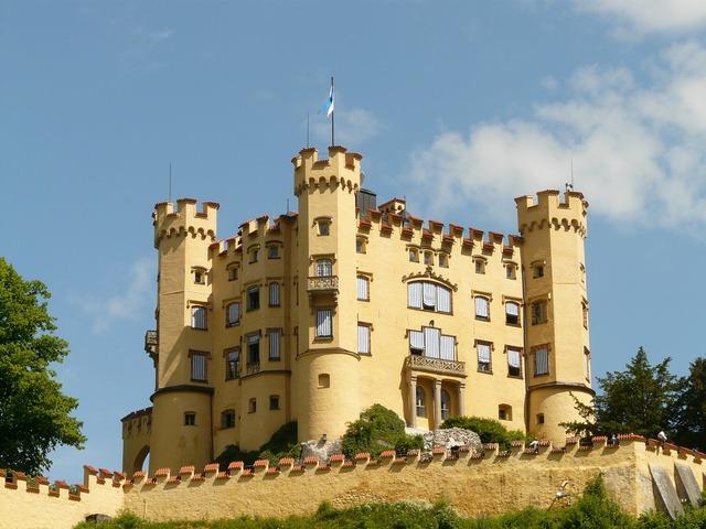 Hohenschwangau castle places of interest, architecture buildings.