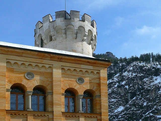Hohenschwangau closed castle, architecture buildings.