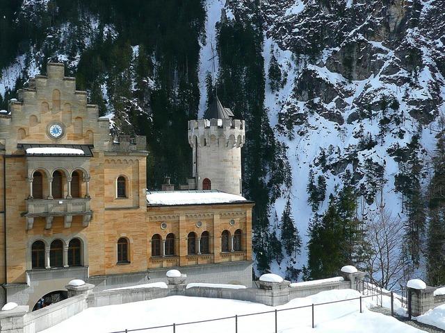 Hohenschwangau closed castle, architecture buildings.