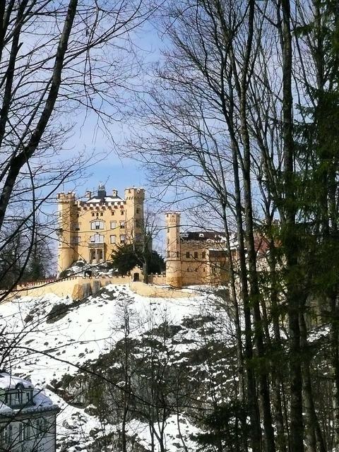 Hohenschwangau rock castle, architecture buildings.
