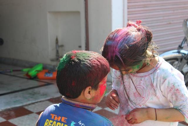 Holi children festival, emotions.