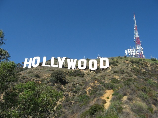 Hollywood sign hillside famous, places monuments.