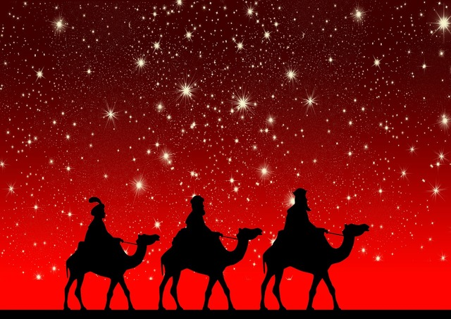 Holy three kings camels ride.