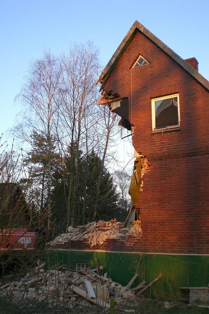 Home demolition destroyed, architecture buildings.