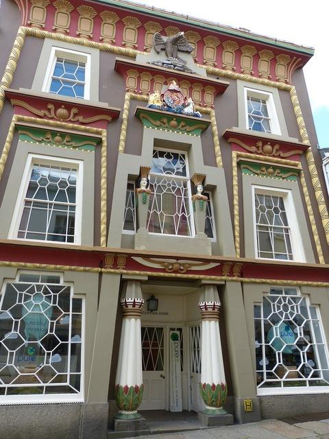 Home facade egyptian, architecture buildings.