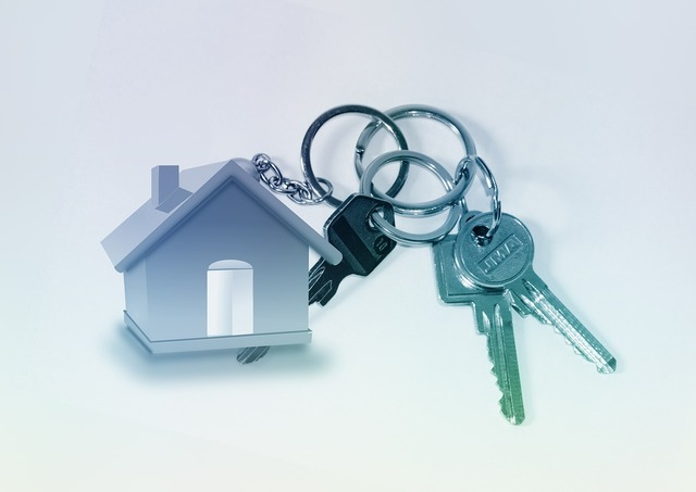 Home key keychain, architecture buildings.