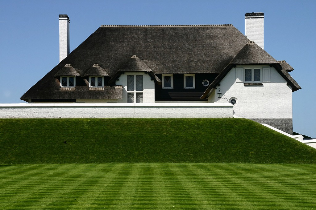 Home thatched roof green lawn, architecture buildings.